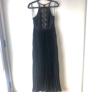 NWT Gorgeous Black Lace Pleated Maxi Dress